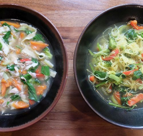Chicken noodle soup with burdock noodles, left. Vegetable noodle soup with rice vermicelli, right.